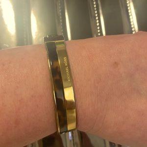 Michael Kors Gold Tone Tortoise Hinge Bangle
